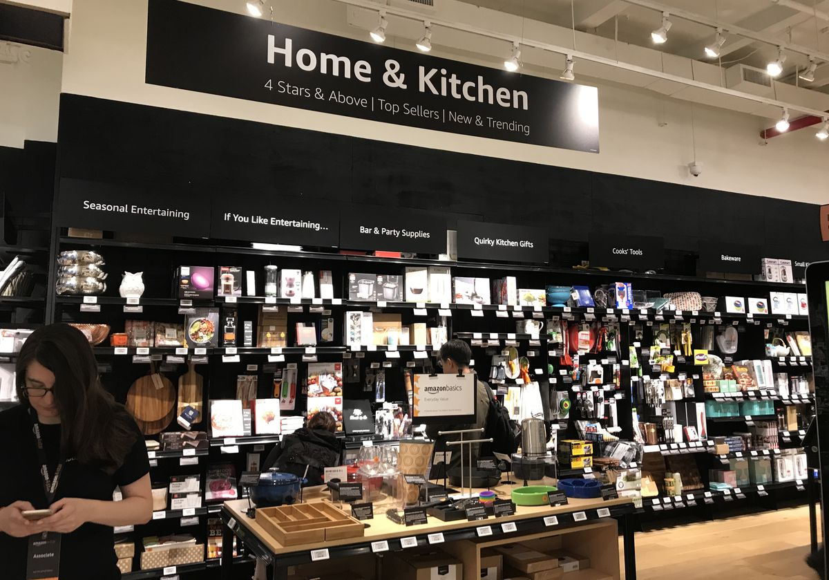 A selection of highly rated products on display inside the Amazon 4-Star store in New York City.