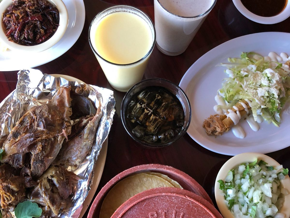 Lamb barbacoa, flautas, fresh tortillas and drinks at Aqui Es Texcoco.