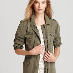 Lily Aldridge for Velvet army green anorak, $148.