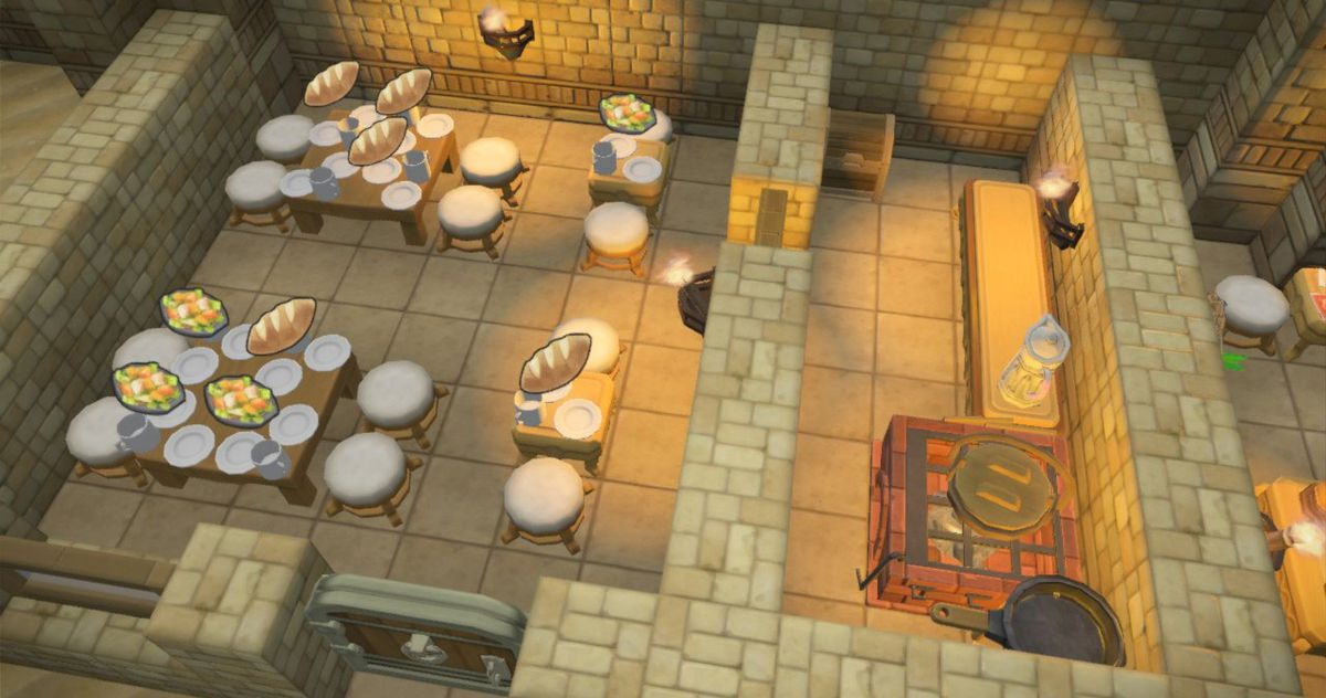 Two Dragon Quest Builders 2 rooms, a kitchen and dining area, put together to make a restaurant