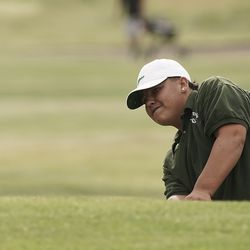 Avre Gomez, Wendover, chips during the Utah Section PGA Spring Individual Championship in Rose Park Golf Course in Rose Park on Thursday, June 4, 2020.