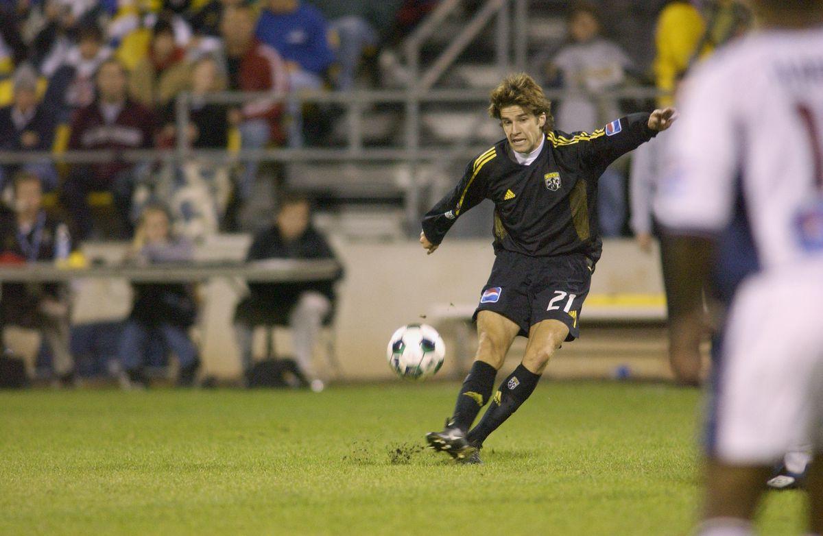 Kyle Martino kicks the ball