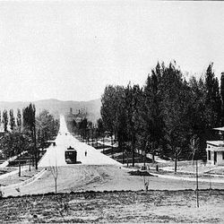 Looking south on South Temple from Federal Heights and the University of Utah in August 1909.