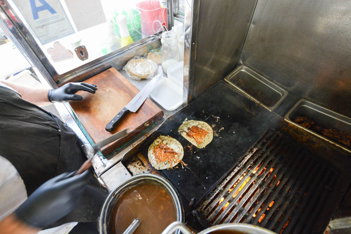 el ruso tacos on griddle with cheese