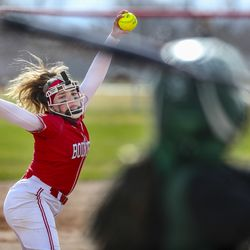 Bountiful pitcher Annie Salazar fires a pitch during a softball game against Clearfield at Millcreek Junior High School in Bountiful on Wednesday, March 24, 2021.