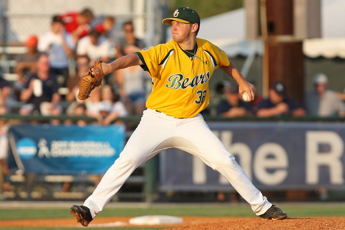 Josh Turley pitches for the Baylor Bears. via US Presswire.