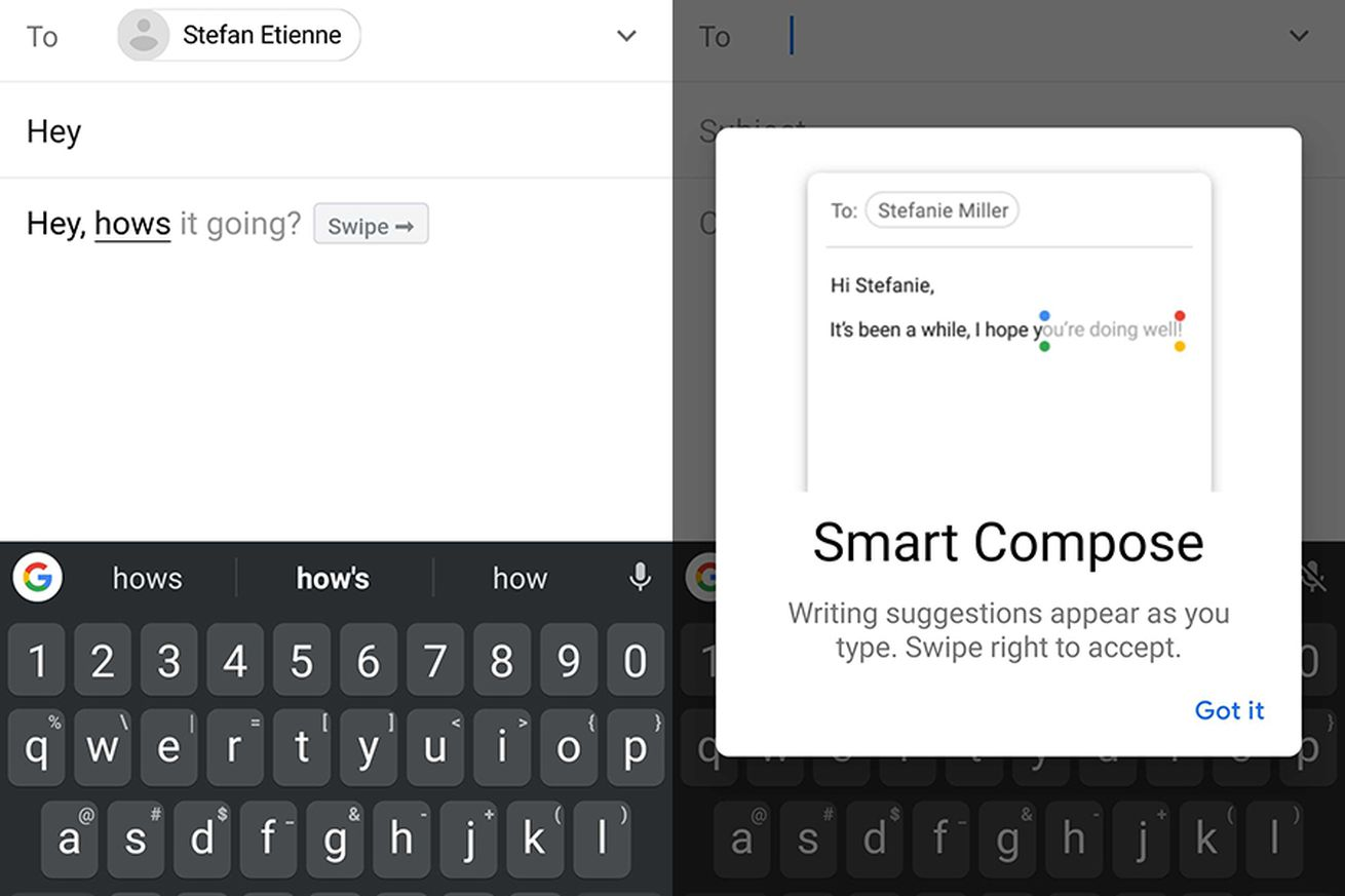 Smart Compose running on the Galaxy S10+