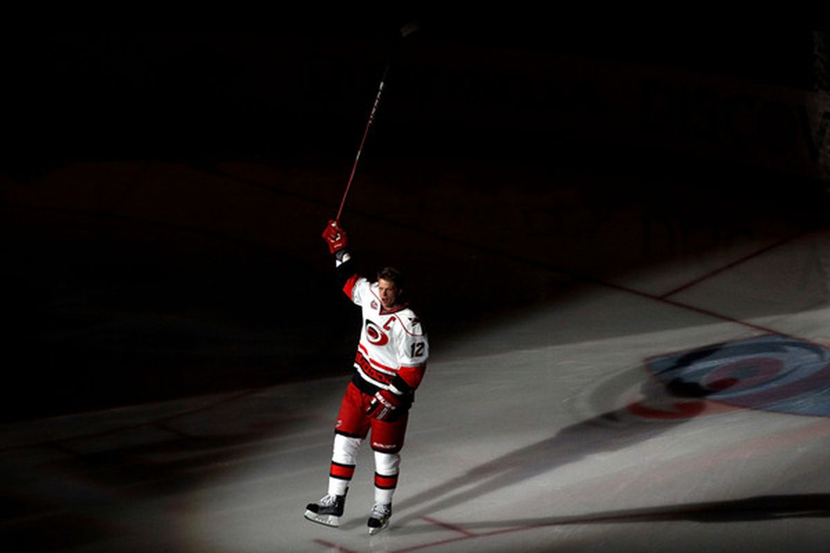 Eric Staal is introduced during the 2011 NHL All-Star Weekend at the RBC Center on January 29 2011 in Raleigh North Carolina.  (Photo by Bruce Bennett/Getty Images)