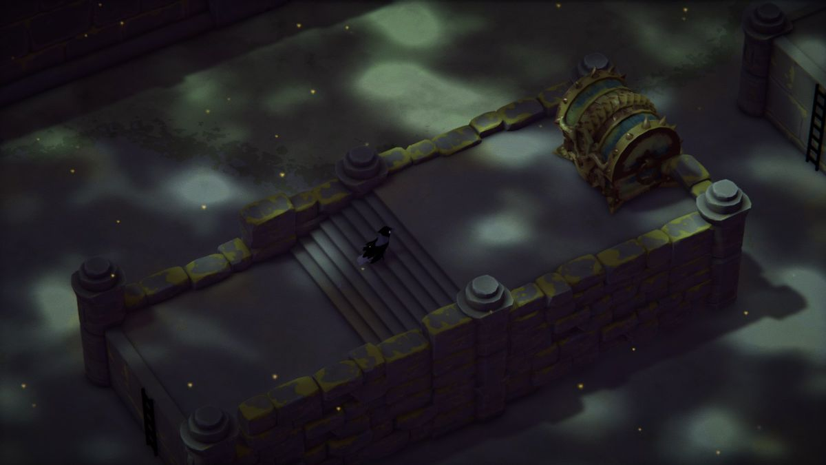 A treasure chest atop some stairs in the dark