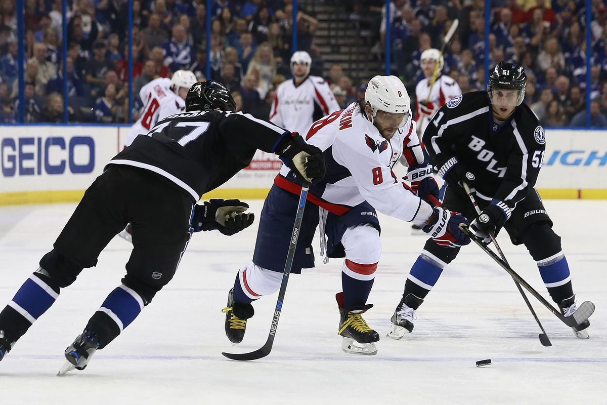 Tampa Bay's Victor Hedman and Valtteri Filppula defend against Washhington's Alex Ovechkin in the Lightning's 2-1 loss to the Capitals Saturday night.