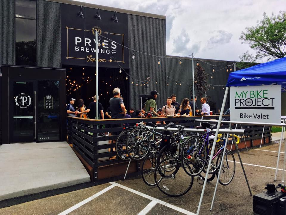 A view from the bike rack into the outdoor patio at Pryse.