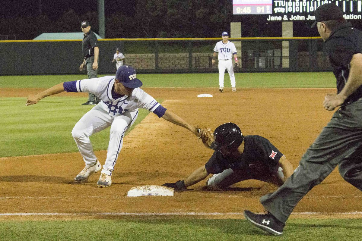 Wanhanen attempts to tag out a Texas Tech baserunner as the two teams did battle in Fort Worth this weekend.