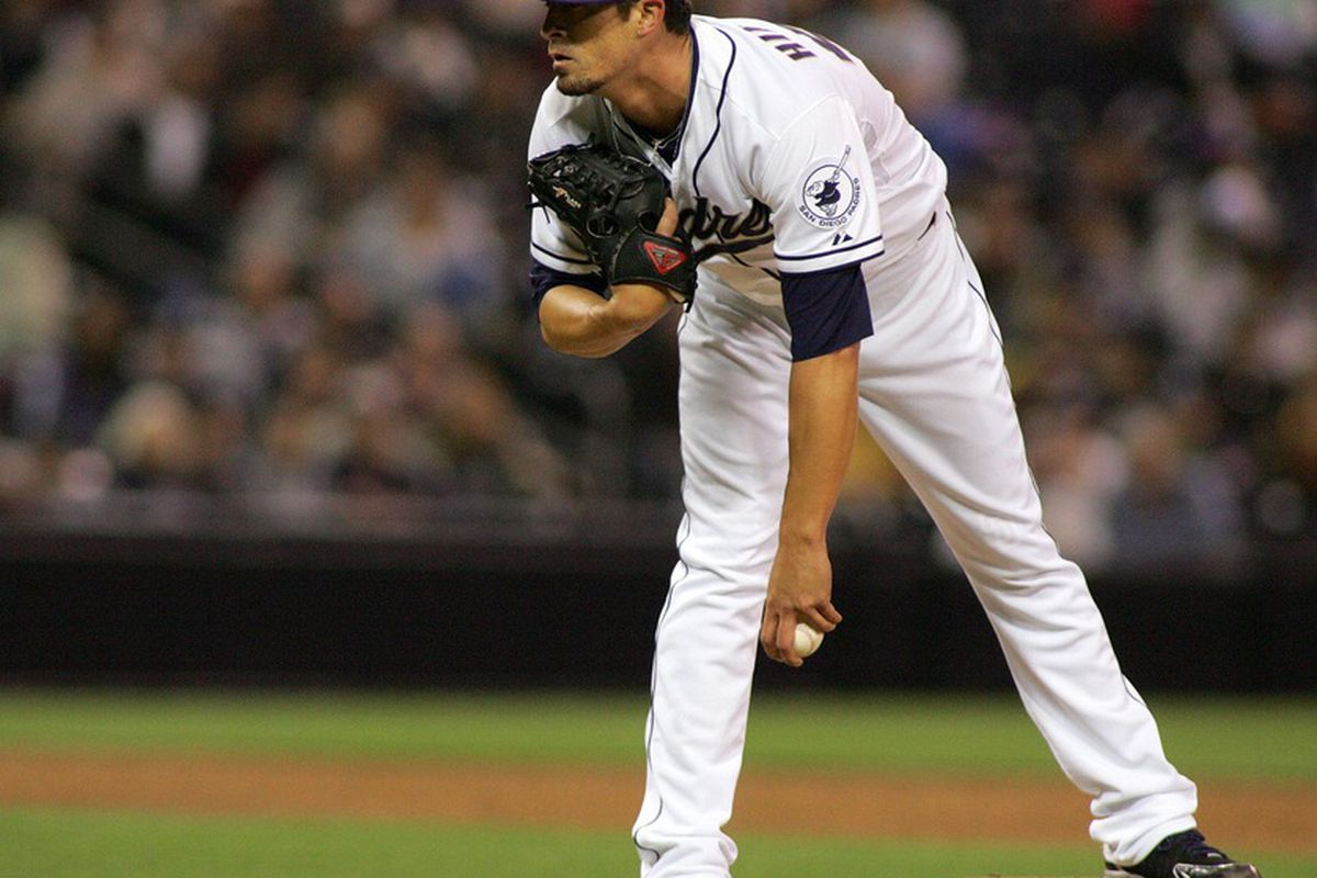 May 17, 2012; San Diego, CA, USA; San Diego Padres relief pitcher Alex Hinshaw (41) gets his signs during the sixth inning against the Los Angeles Dodgers at PETCO Park. Mandatory Credit: Jake Roth-US PRESSWIRE