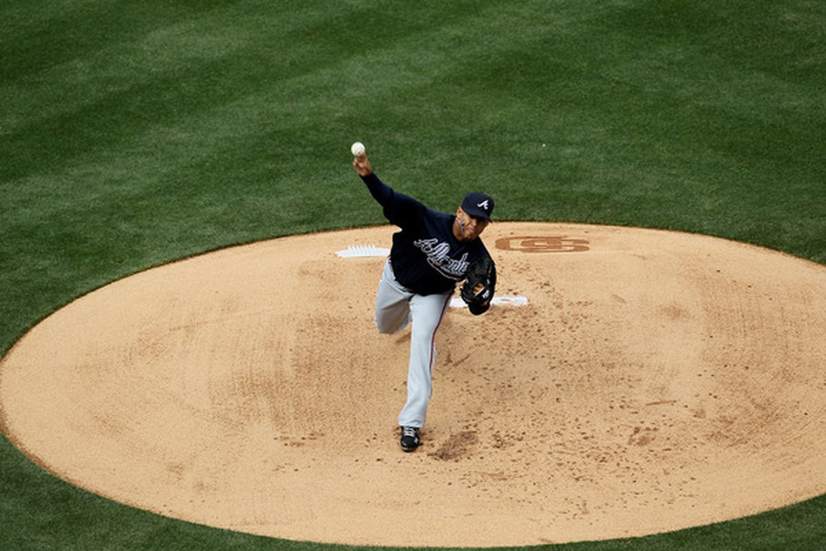 Jair Jurrjens will look to give the Braves a 1-0 advantage over the Cubs in a weekend series full of day games.