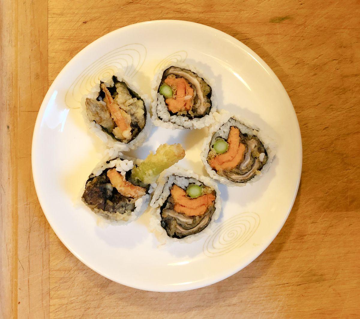 A vegetarian sushi roll