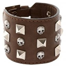 """<a href=""""http://www.asos.com/Richmond/Richmond-Skull-Stud-Leather-Cuff/Prod/pgeproduct.aspx?iid=1460553&SearchQuery=skull&sh=0&pge=2&pgesize=20&sort=-1&clr=Brown"""" rel=""""nofollow"""">Richmond Skull Stud Leather Cuff</a>: £44.50"""
