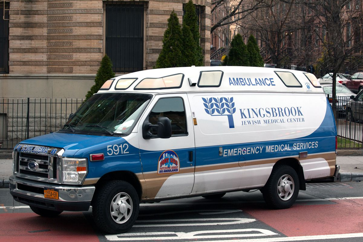 A Kingsbrook Jewish Medical Center ambulance heads toward the hospital after picking up a patient who was sick on a bus on Nostrand Avenue.