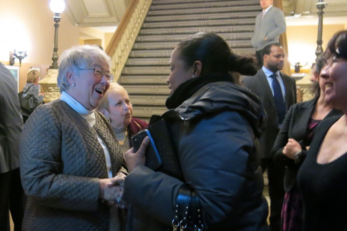 Chancellor Carmen Fariña greeted members of her staff at Department of Education headquarters today.
