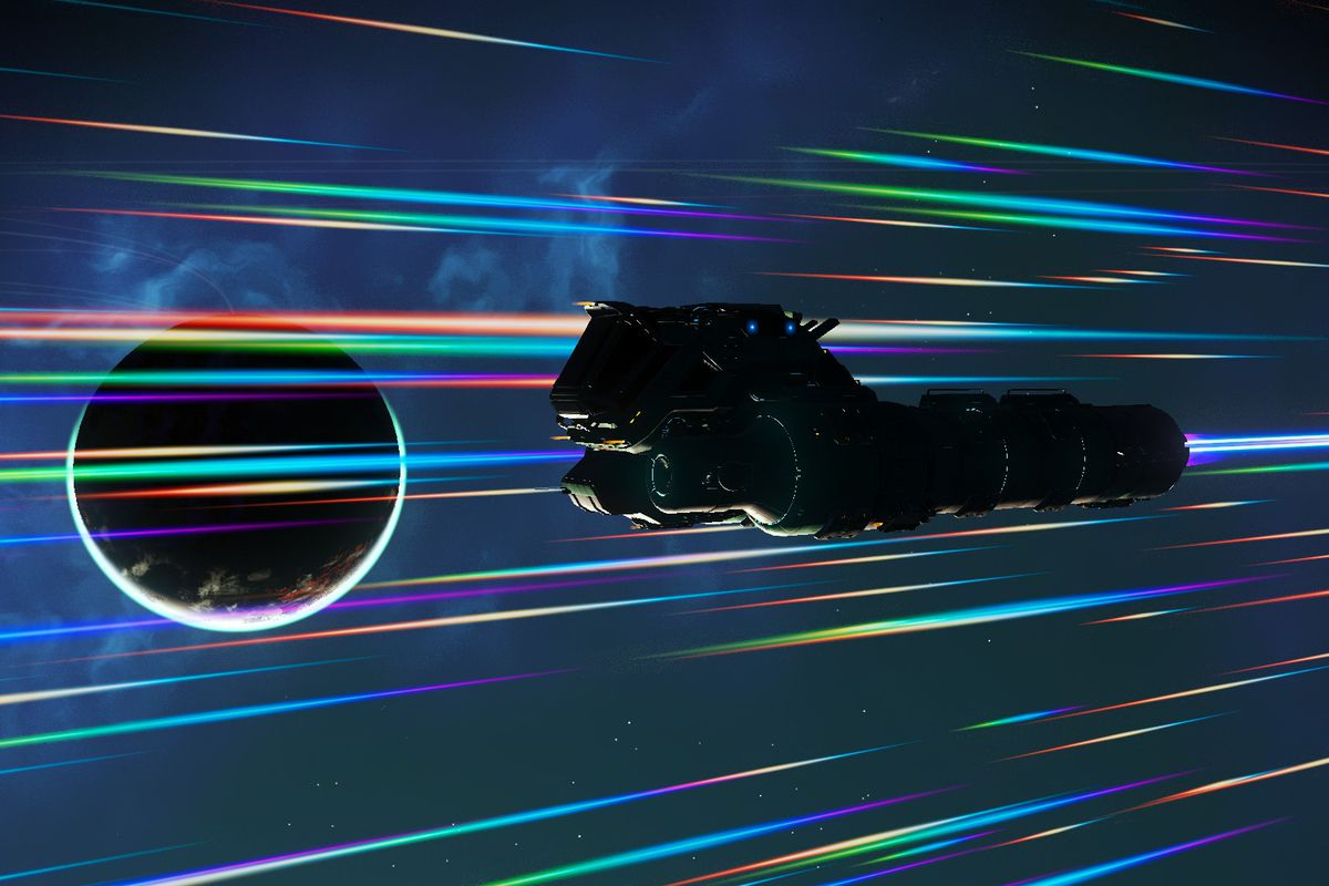 No Man's Sky - a long spaceship with double engines pulse drives through the galaxy, passing by a planet.