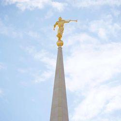Ogden Utah Temple Moroni statue on spire.