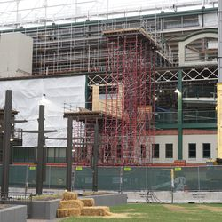 Scaffolding on the west side of the ballpark, next to the office building