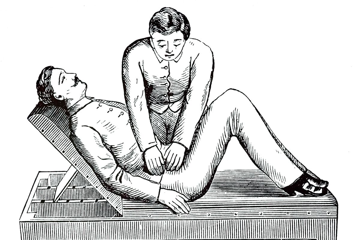 An engraving depicting a patient in a half-hook position having a colon massage recommended for constipation