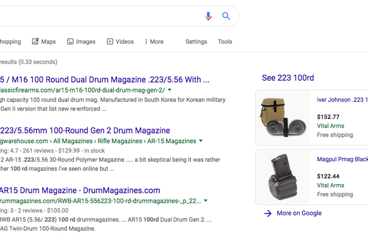 Google shows shopping results for 100-bullet magazines