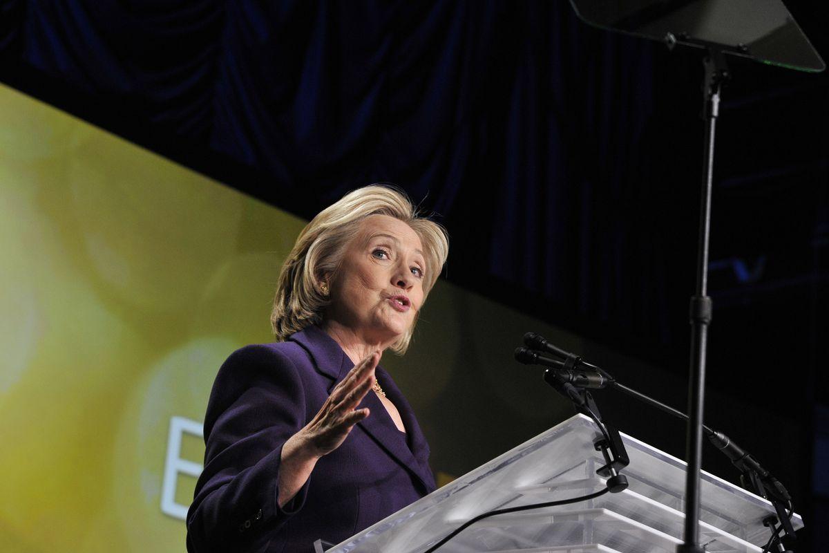 Former U.S. Secretary of State Hillary Clinton speaks at EMILY's List 30th Anniversary Gala at Washington Hilton on March 3, 2015 in Washington, DC.  (