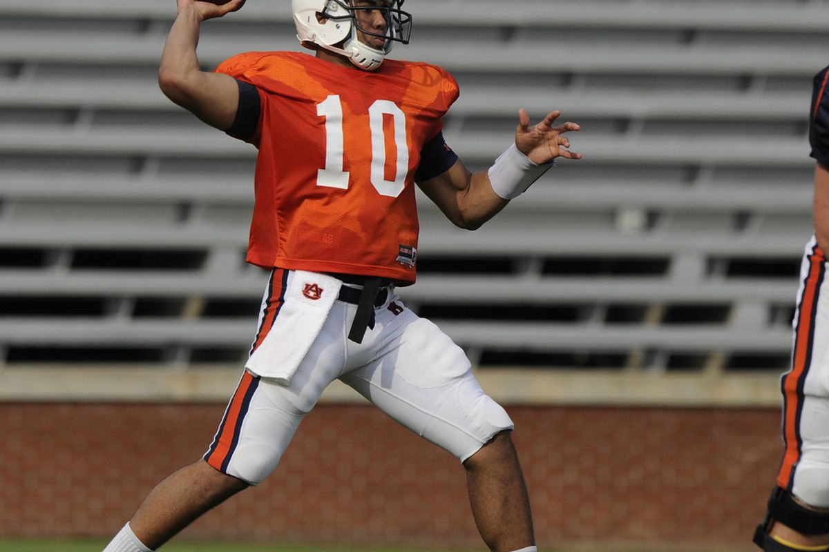 Kiehl Frazier is the favorite to be named starting quarterback this fall. Can he play well enough to keep the Auburn offense moving? God, we hope so. (Todd Van Emst photo)