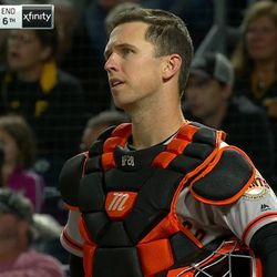 """Buster Posey has had it with this life. The look of sadness and frustration is beautiful. What really sells this shot is the slow pull in that happens. This is drama, but it has nothing to do with the game itself and everything to do with a man whose life is at a crossroads. """"What's next?"""" """"Is this all there is?"""""""