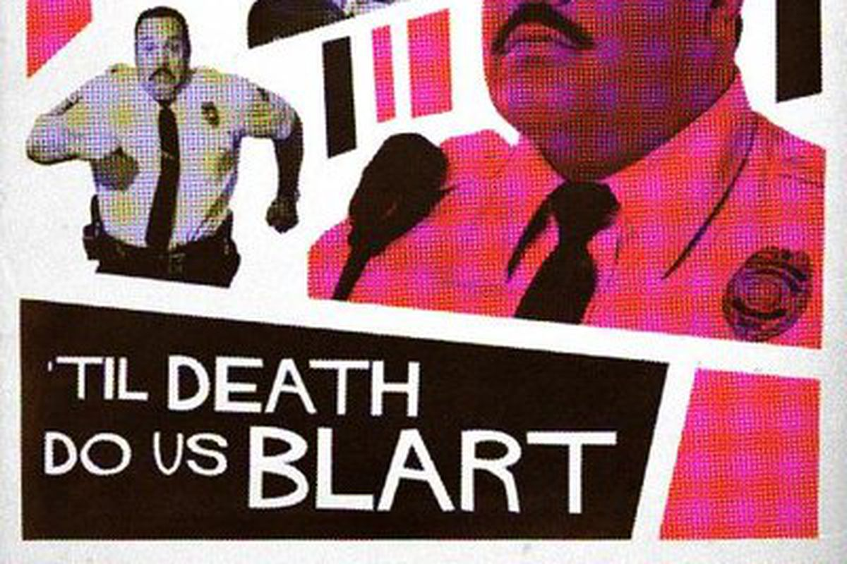 """A collage of three Paul Blart images on a white background. The foremost Paul Blart is colored pink and maroon to match the alternating pink and maroon stripes in the background. At the bottom of the image it says """"Til' Death Do Us Blart""""."""