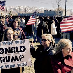 Donald Trump supporters wait outside the Infinity Event Center for Trump to speak in Salt Lake City on Friday, March 18, 2016.