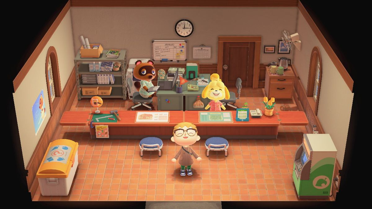 Standing in the Resident Services building in Animal Crossing: New Horzions
