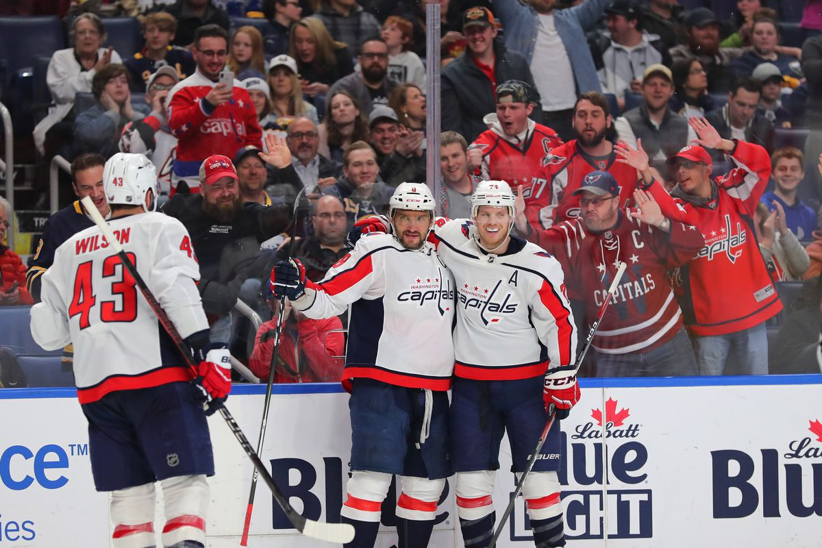 Washington Capitals left wing Alex Ovechkin celebrates his goal during the third period against the Buffalo Sabres at KeyBank Center.