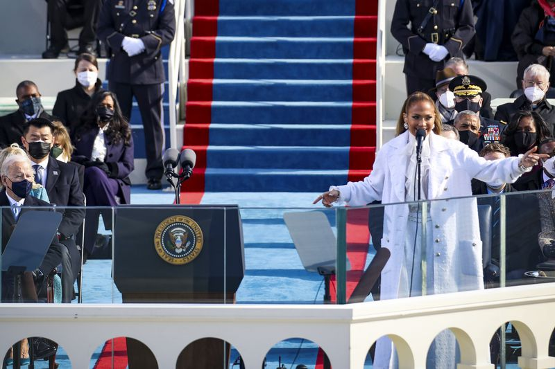 Jennifer Lopez sings at the inauguration.