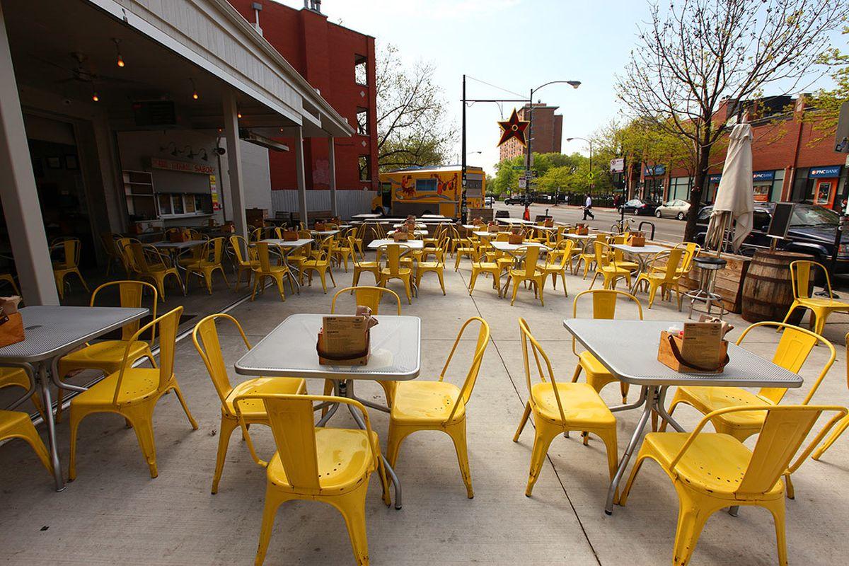 A taco bar's patio.