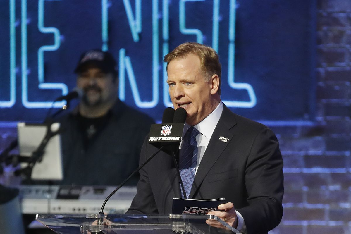 NFL Commissioner Roger Goodell stands at the podium during day 1 of the 2019 NFL Draft April 25, 2019 in Nashville, Tennessee.