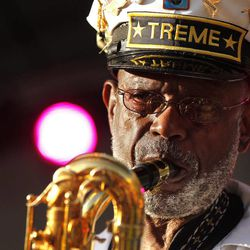 Roger Lewis, with the Treme Brass Band, performs at a sunrise concert marking International Jazz Day in New Orleans, Monday, April 30, 2012. The performance, at Congo Square near the French Quarter, is one of two in the United States Monday; the other is in the evening in New York. Thousands of people across the globe are expected to participate in International Jazz Day, including events in Belgium, France, Brazil, Algeria and Russia.