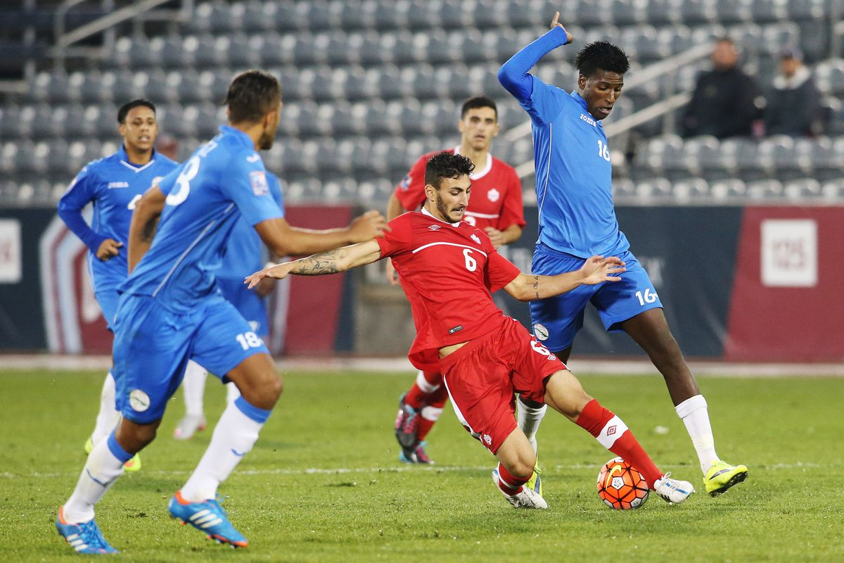 Mannella hunting out the ball against the Cuban midfield in CONCACAF Olympic Qualifying