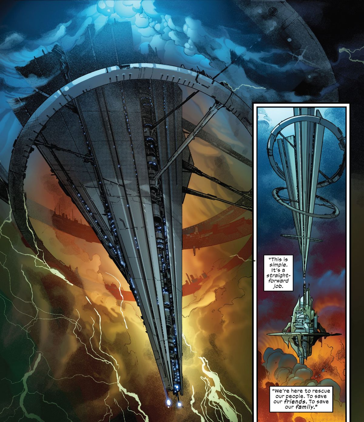 The SWORD station — shaped like a massive arrow suspended between two angled floating rings —descends ominously from a massive portal in the sky, wreathed in multicolored clouds and lightning, to hover vertically above the Starlight Citadel in X of Swords: Destruction, Marvel Comics (2020).