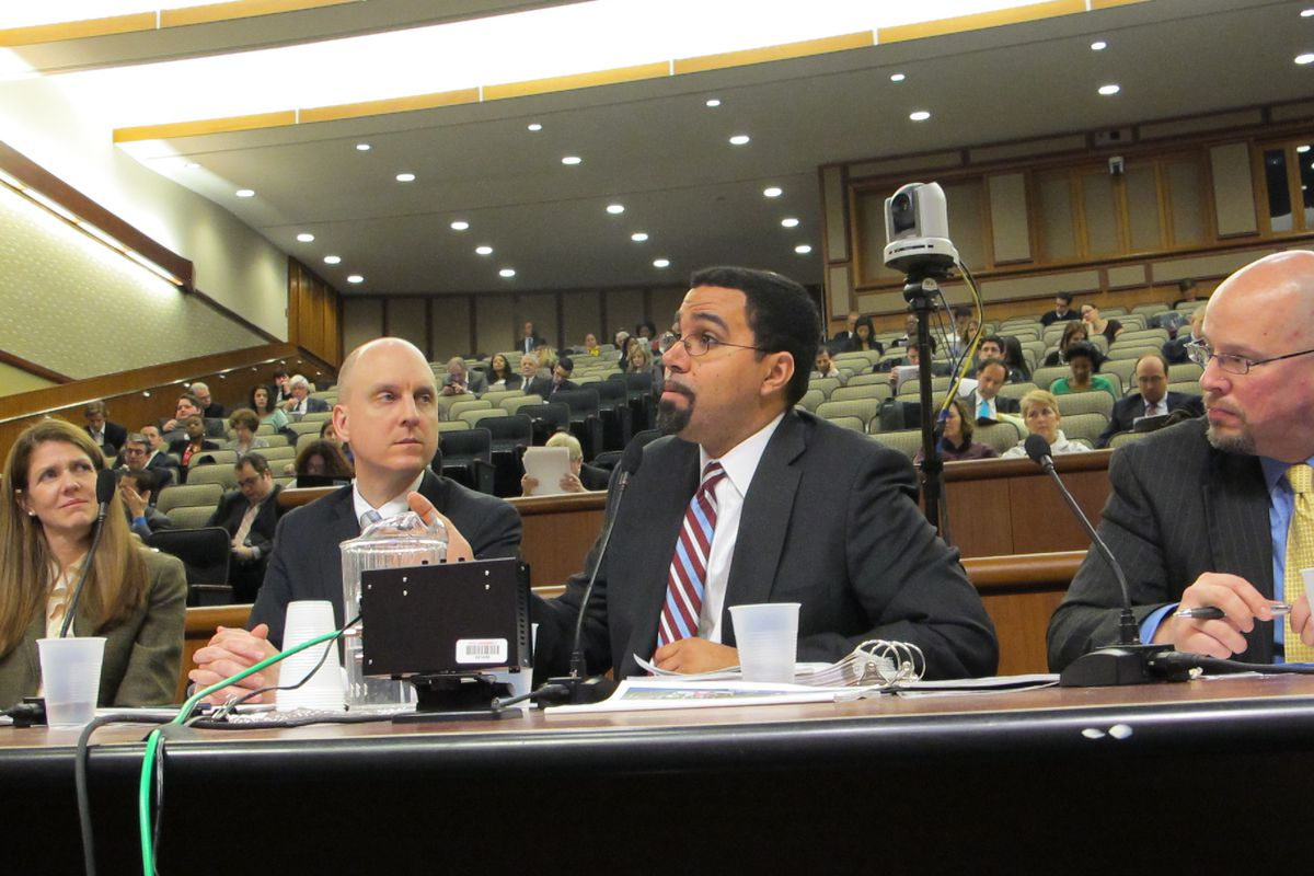 Commissioner John King testifies at a budget hearing on Tuesday.
