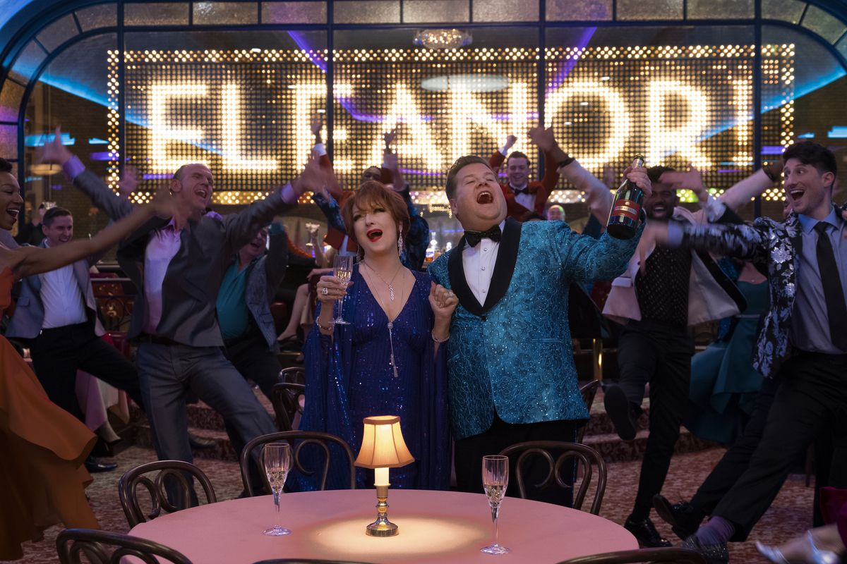 """Meryl Streep and James Corden sing in front of a giant song that says """"Eleanor"""" in The Prom"""