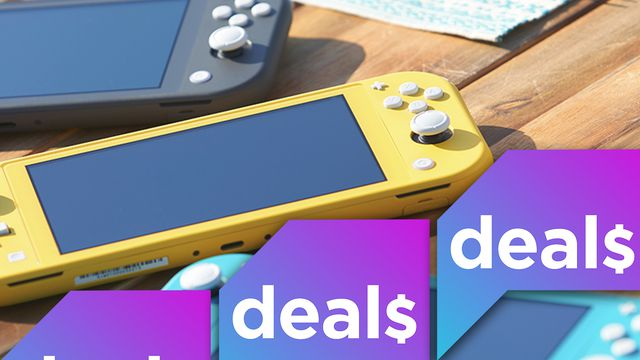 An image of three Switch Lite consoles on a table, overlaid with the Polygon Deals logo