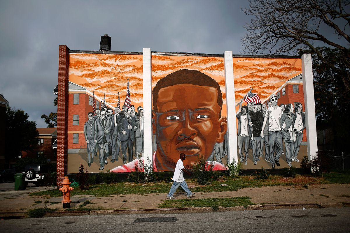 A mural for Freddie Gray in Baltimore.