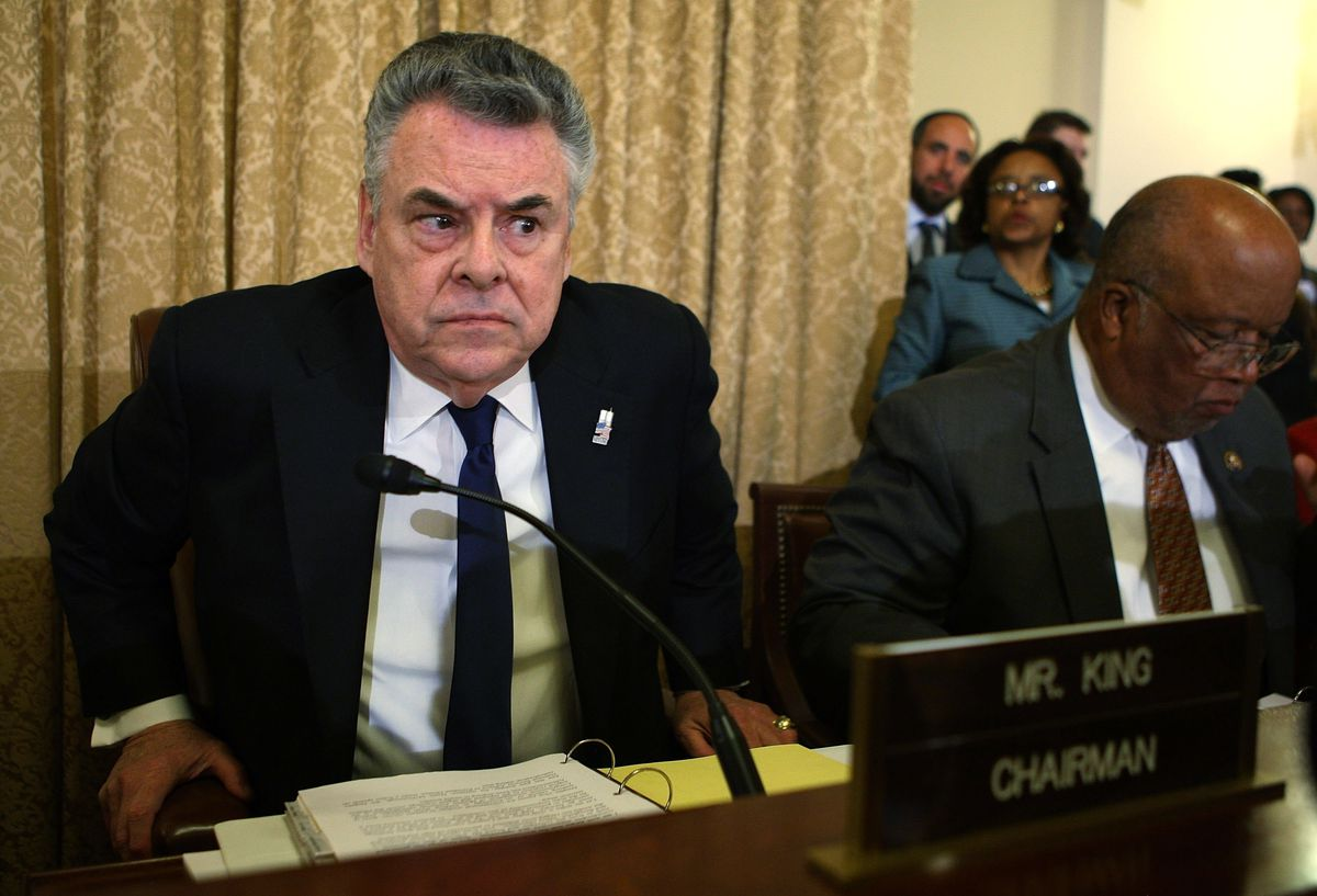 Rep. Peter King (R-NY) at one of the hearings he's held about radicalization of American Muslims.