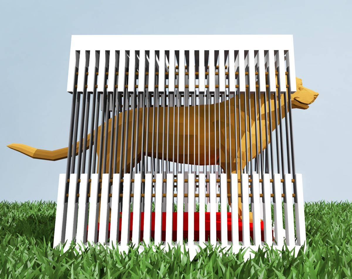 An architectural rendering  of a modern-looking dog house with slats connected by metal bars serving as walls and roof. There's a drawing of a large, lab-type dog inside and grass is depicted surrounding the house.