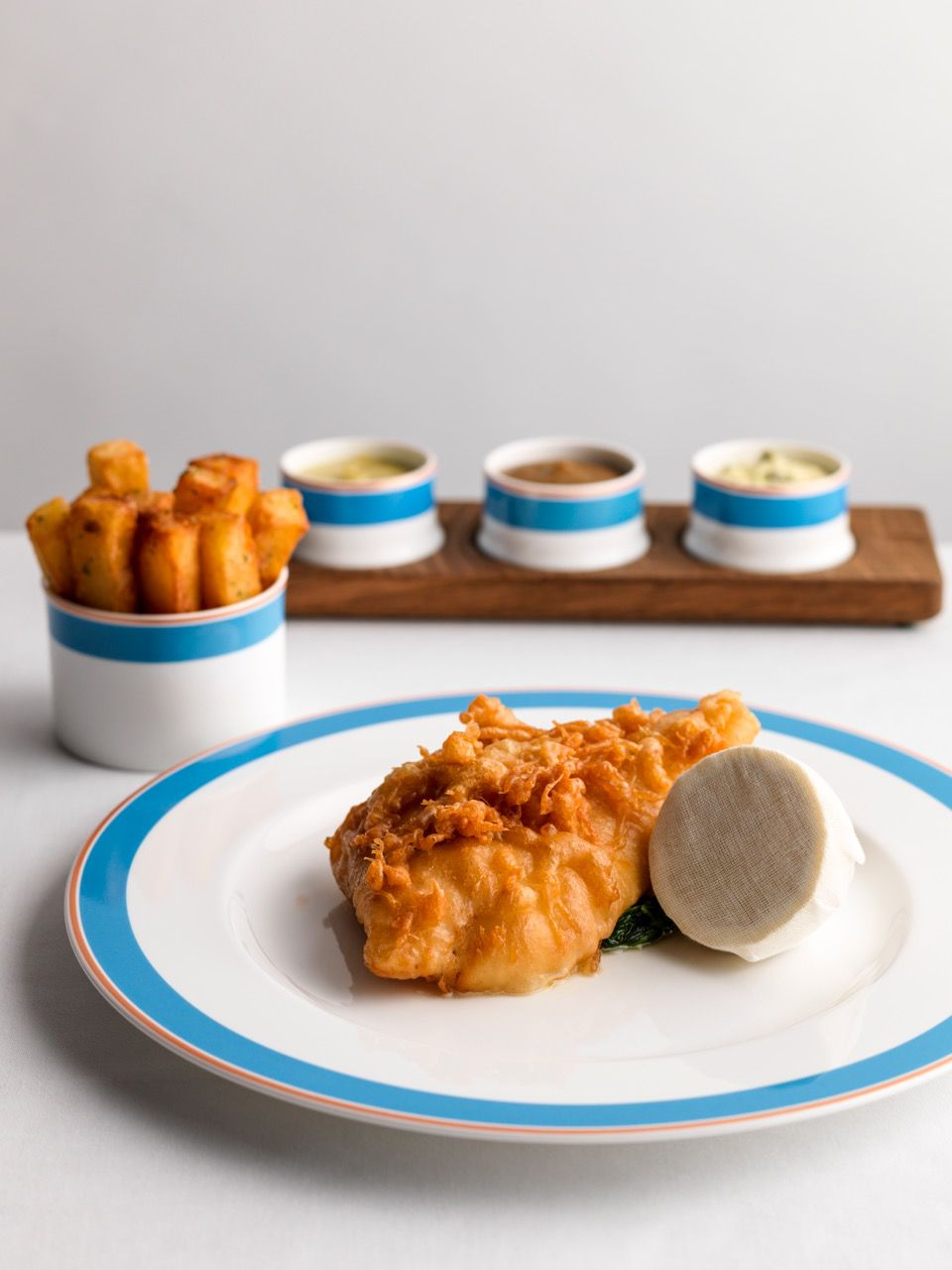 Fish and chips with pease pudding at Kerridge's Bar and Grill, the new London restaurant from chef Tom Kerridge