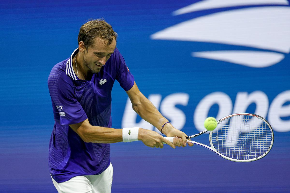 Daniil Medvedev of Russia returns the ball against Richard Gasquet (not pictured) of France during their Men's Singles first round match on Day One of the 2021 US Open at the Billie Jean King National Tennis Center on August 30, 2021 in the Flushing neighborhood of the Queens borough of New York City.