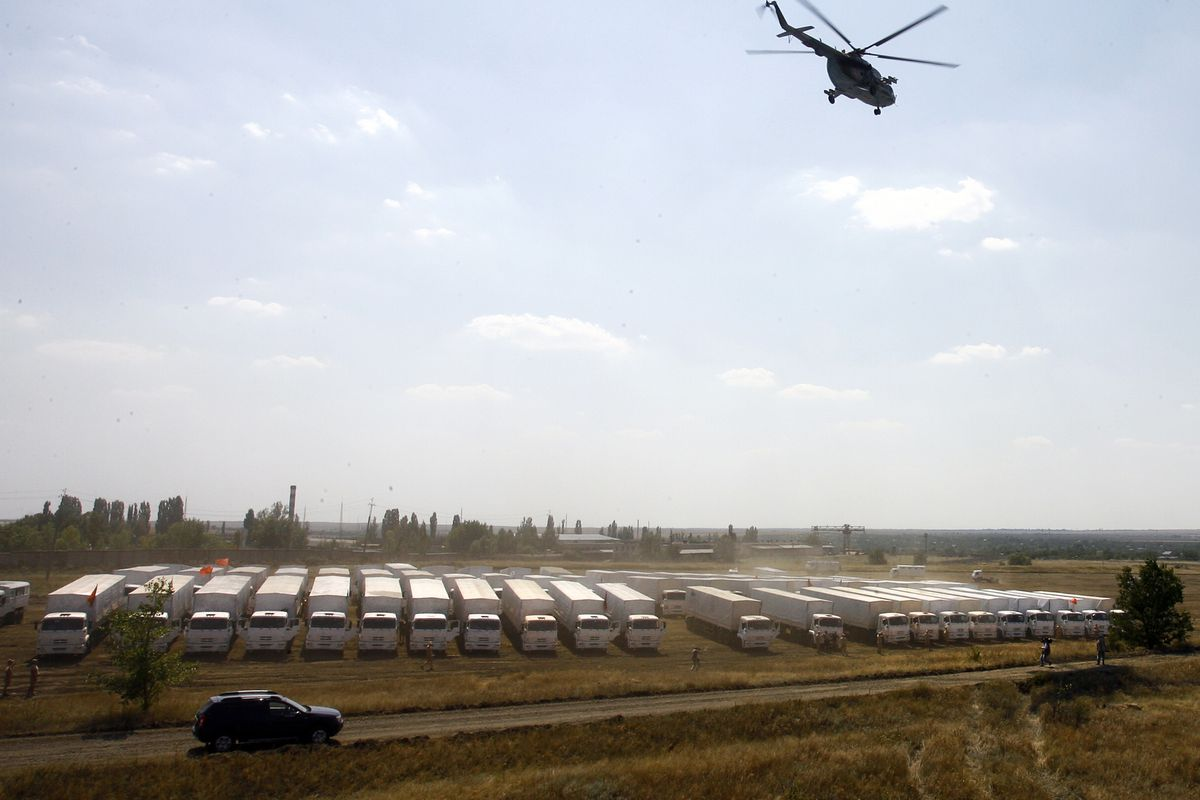 The Russian aid convoy parks somewhere in Russia as it heads for Ukraine