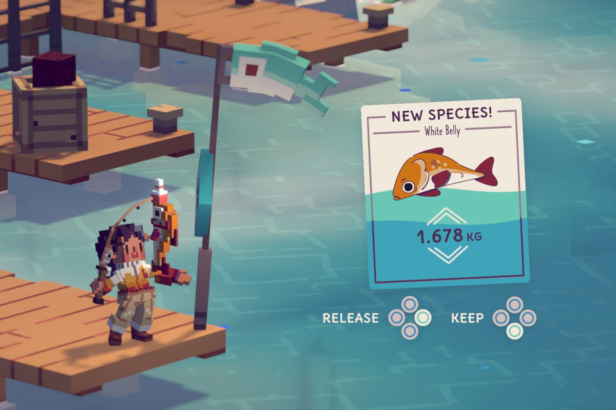 A character in Moonglow Bay reels in an orange fish.